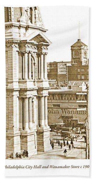 Philadelphia City Hall And Wanamaker Store C 1900 Vintage Photog Bath Towel