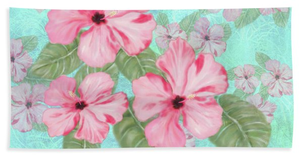 Pink Hibiscus Print On Aqua Hand Towel