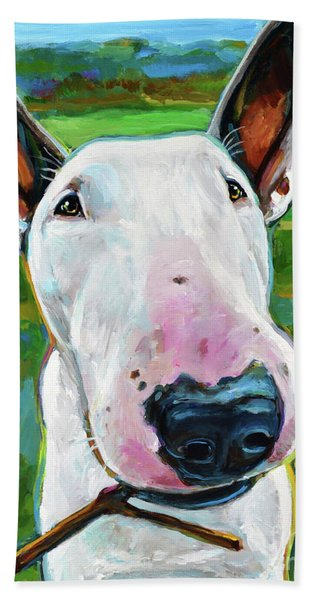 Playful White Pitbull Terrier With Stick By Robert Phelps Hand Towel