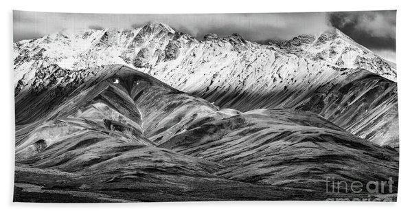 Polychrome Mountain, Denali National Park, Alaska, Bw Bath Towel