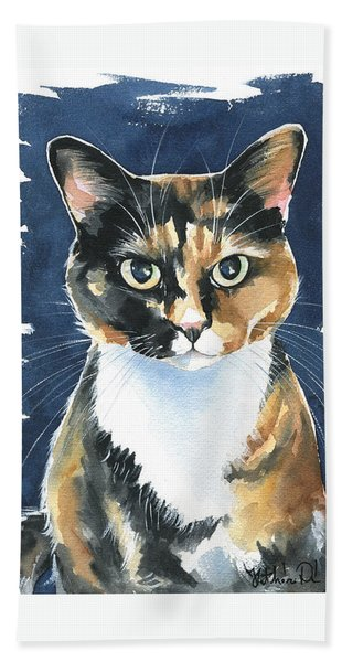 Poppy Calico Cat Painting Bath Towel