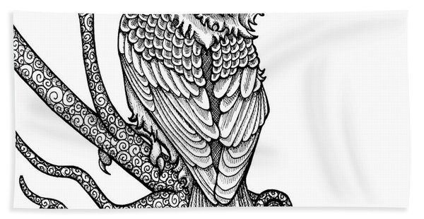 Bath Towel featuring the drawing Purple Finch by Amy E Fraser