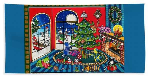 Purrfect Christmas Cat Painting Bath Towel