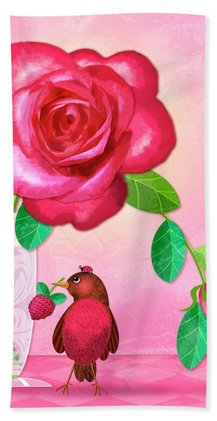 R Is For Rose And Robin Hand Towel