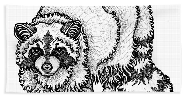 Bath Towel featuring the drawing Raccoon by Amy E Fraser