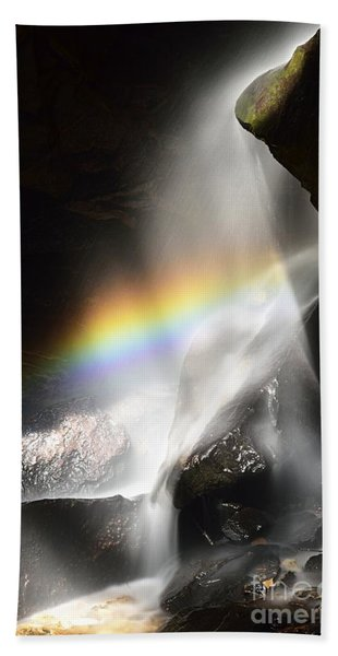 Rainbow In Broken Rock Falls Hand Towel