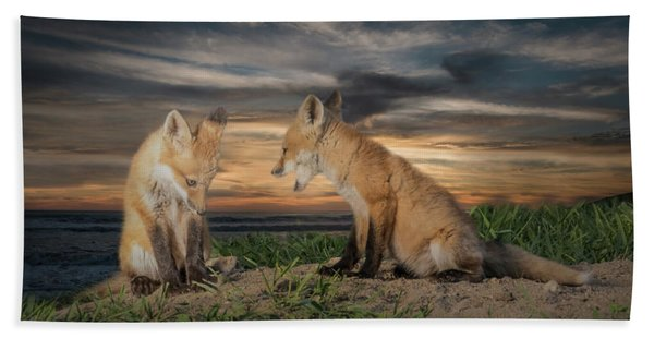 Bath Towel featuring the photograph Red Fox Kits - Past Curfew by Patti Deters