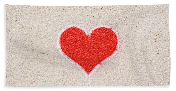 Red Heart Painted On A Wall, Message Of Love. Bath Towel
