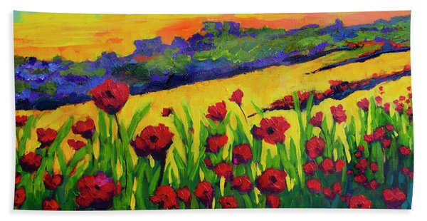 Red Poppies In Spring Hand Towel