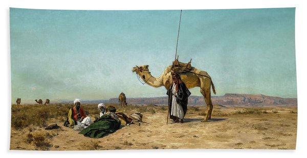 Rest In The Syrian Desert, 19th Century Hand Towel