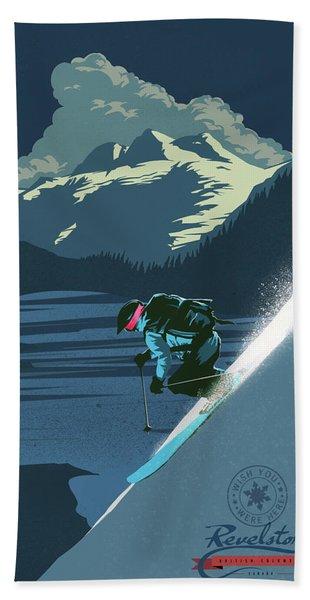Retro Revelstoke Ski Poster Hand Towel