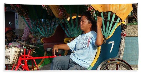 Rickshaw Driver In Taiwan Takes A Nap Hand Towel