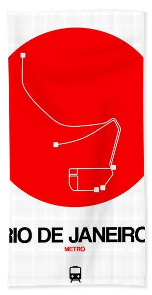 Rio De Janeiro Red Subway Map Hand Towel