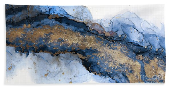 River Of Blue And Gold Abstract Painting Bath Towel