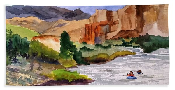 River Rafting In Montana Hand Towel