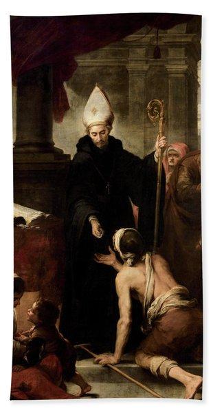 Saint Thomas Of Villanueva Giving Alms To The Poor, 1669 Hand Towel