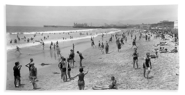 Santa Monica Beach Circa 1920 Bath Towel