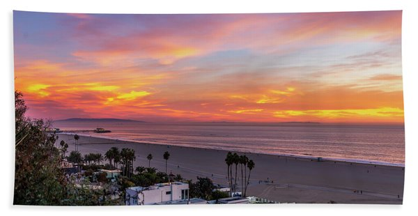 Santa Monica Pier Sunset - 11.1.18  Bath Towel