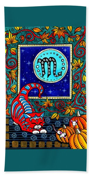 Scorpio Cat Zodiac Bath Towel