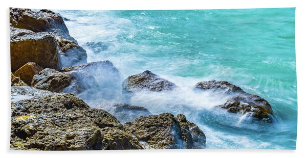 Sea Rocks In Montego Bay Hand Towel