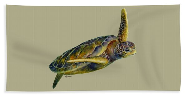 Sea Turtle 2 - Solid Background Hand Towel