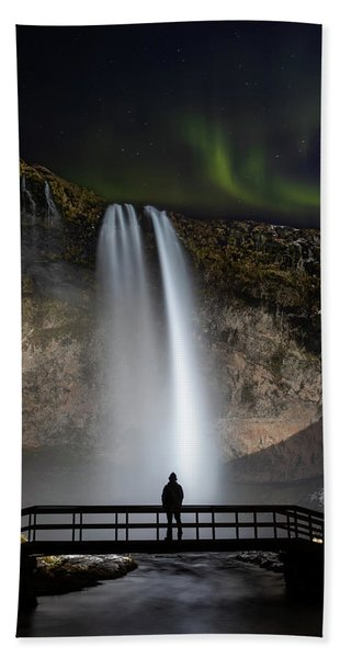 Seljalandsfoss Northern Lights Silhouette Bath Towel