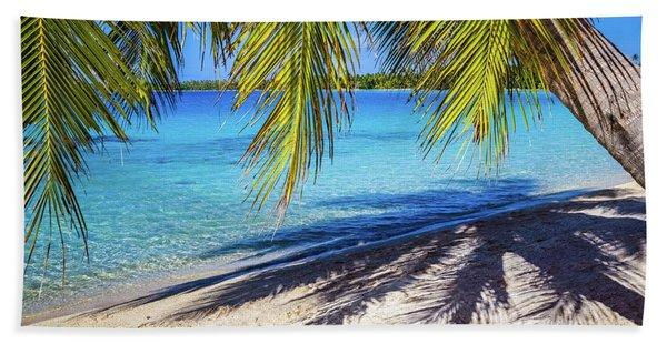 Shadows On The Beach, Takapoto, Tuamotu, French Polynesia Bath Towel