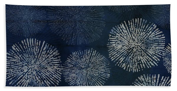 Shibori Sea Urchin Burst Pattern Dark Denim Bath Towel