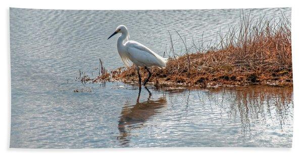 Snowy Egret Hunting A Salt Marsh Hand Towel