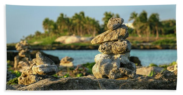 Stacked Rocks On Mexico Beach Bath Towel