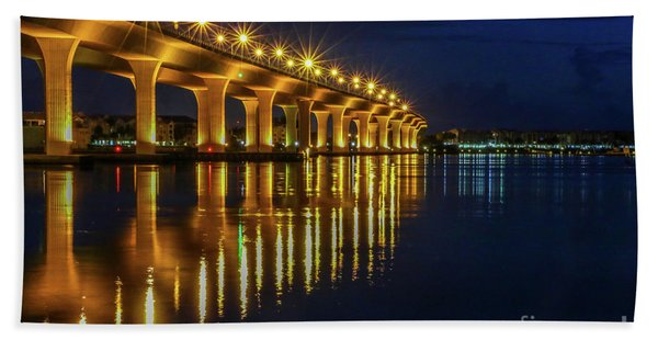 Bath Towel featuring the photograph Starburst Bridge Reflection by Tom Claud