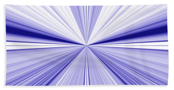 Starburst Light Beams In Blue And White Abstract Design - Plb455 Bath Towel
