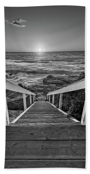 Steps To The Sun  Black And White Hand Towel