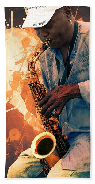 Street Sax Player Bath Towel