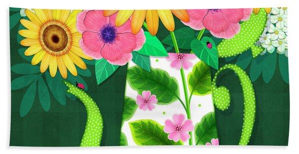 Summer Flowers In Coffee Pot Hand Towel