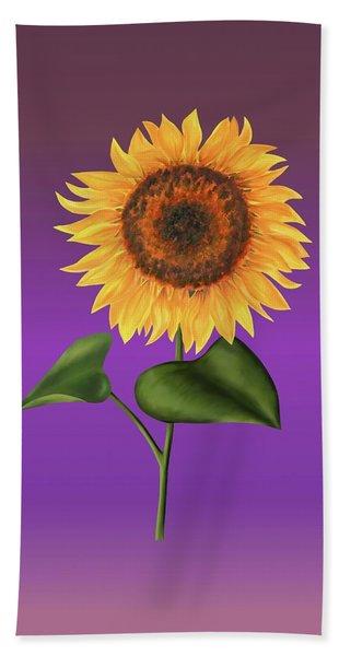 Sunflower On Purple Hand Towel