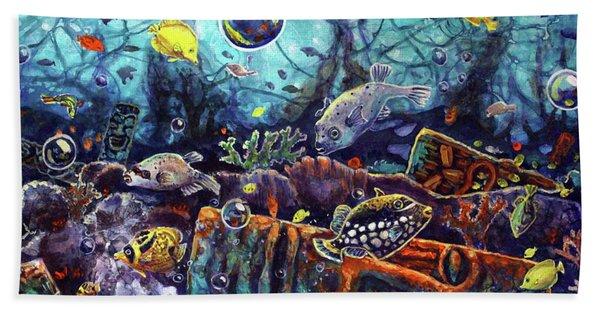 Sunken Tiki Reef Bath Towel