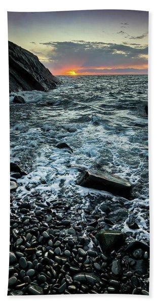 Sunset At Quarry Bay, Port Logan Hand Towel