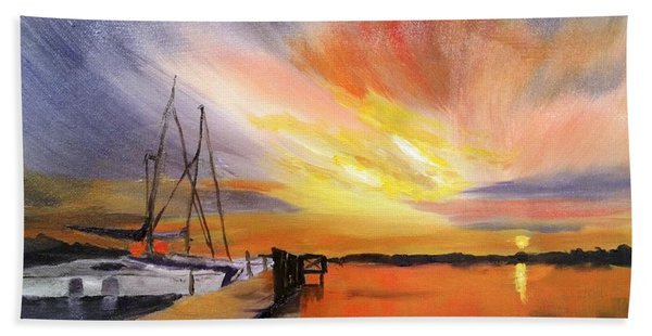 Sunset Harbor Bath Towel