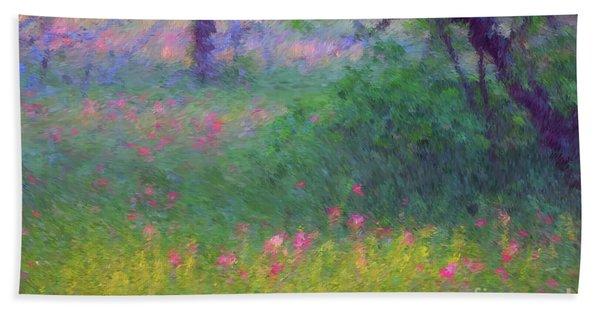Sunset In Flower Meadow Bath Towel