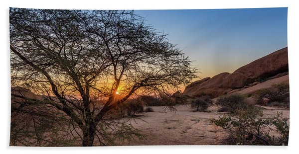 Sunset In Spitzkoppe, Namibia Bath Towel