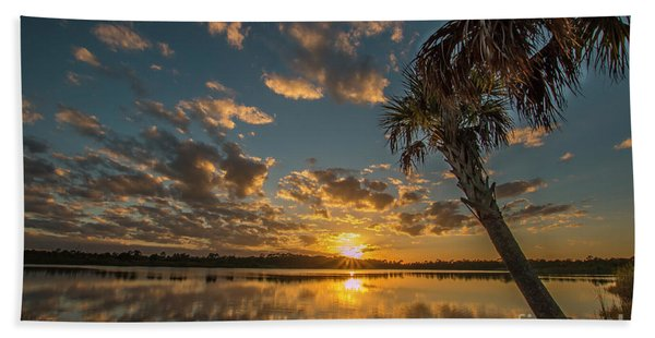 Bath Towel featuring the photograph Sunset On The Pond by Tom Claud