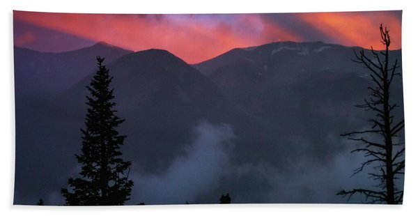 Hand Towel featuring the photograph Sunset Storms Over The Rockies by John De Bord