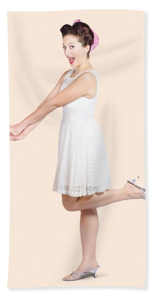 Surprised Housewife Kicking Up Leg In White Dress Hand Towel