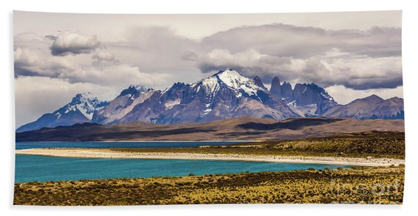 The Mountains Of Torres Del Paine National Park, Chile Hand Towel
