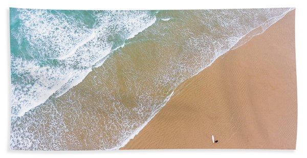 The Surfer And The Sea Hand Towel