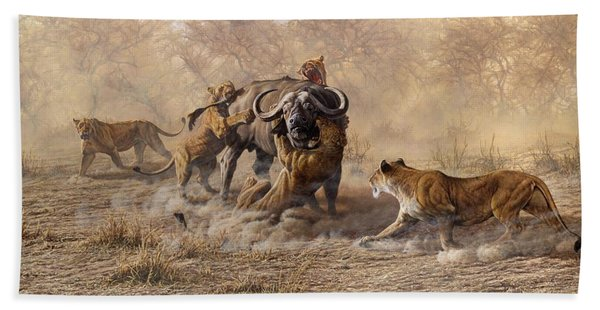 Bath Towel featuring the painting The Take Down - Lions Attacking Cape Buffalo by Alan M Hunt