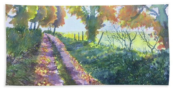 The Tunnel In Autumn Hand Towel