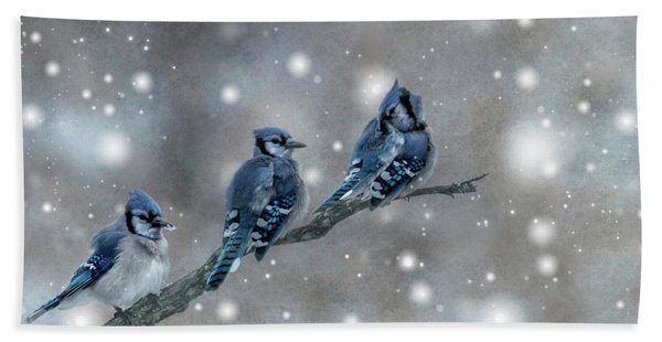 Bath Towel featuring the photograph Three Blue Jays In The Snow by Patti Deters