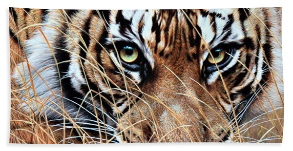 Bath Towel featuring the painting Tiger Eyes By Alan M Hunt by Alan M Hunt